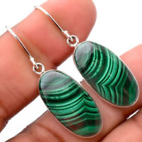 Natural Malachite Eye - Congo 925 Sterling Silver Earrings Jewelry 1226