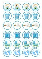 24 Edible cake toppers decorations Baby boy Shower New ND4 it's a boy