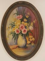 "Oil Painting on Board Still Life Flowers Signed Framed Art  (22.5"" x 16.5"")"