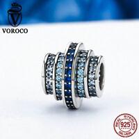 Voroco Blue Melody 925 Sterling Silver Bead Charm with CZ Fit Bracelet Jewelry
