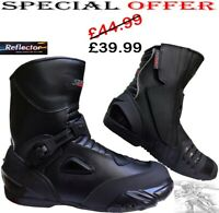 REAL LEATHER SPEED MAX MENS SHORT MOTORBIKE MOTORCYCLE RACING SPORTS SHOES BOOTS