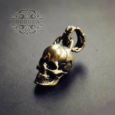 Unique Handmade Brass Skull Motorcycle Keychain Pendant Mens Key Ring Accessory