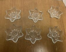 LOT OF 6 VINTAGE MID CENTURY GLASS CHRISTMAS 6 POINT STAR CANDLE HOLDERS