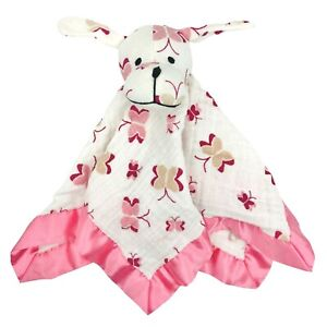Aden + Anais Puppy Dog Lovey Security Blanket Musy Mate Muslim Cotton Pink Satin