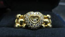 Chopard Happy Diamond 18k Yellow Gold Heart Chain Flex Band Ring Size 5.0