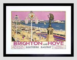TRAVEL BRIGHTON HOVE SUSSEX BEACH RESORT PIER SEA PINK SKY FRAMED PRINT B12X7280