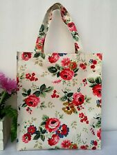 Flower Print Tote GLOSSY FINISH Oil Cloth Bag Ladies Bag / Lunch Bag - Big