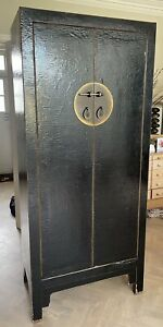 Attractive Chinese Cabinet / Cupboard - Black Lacquer Wood - 205cm high