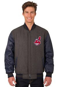Cleveland Indians Wool & Leather Reversible Jacket with Two Front Logos Gray