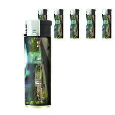 Vintage Alien Abduction D5 Lighters Set of 5 Electronic Refillable Butane