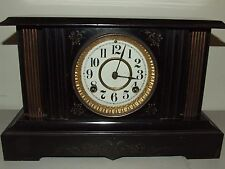 "Antique Working 1881 Waterbury Black Iron ""Crimea"" Victorian Mantel Shelf Clock"