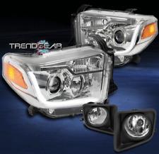 2014-2017 TOYOTA TUNDRA CHROME SET PROJECTOR LED BAR HEADLIGHTS+DRIVING FOG LAMP