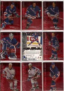 1999-00 BAP ITG Millennium Signatures Ruby New York Rangers Team Set (11)