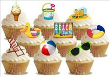 36 Novelty Beach Party Mix STAND UP Edible Cupcake Cake Toppers Bucket Spade Fun