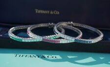 Tiffany & Co. Platinum, Diamond, Ruby, Sapphire, Emerald Line Bracelets - SET