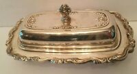 Antique Silverplate Baroque Style Covered Butter Dish Rose Finial And Scroll
