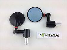 Specchietti ergal CNC tondi da manubrio, alluminio, cafe racer, nero-rosso