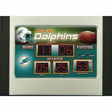 Miami Dolphins Scoreboard Desk & Alarm Clock [NEW] NFL Watch Time Office