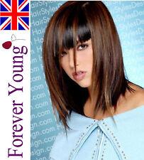 Ladies Long Brown Blonde Wig Hair 3 Tone Honey Brown Black with Black Underlay.