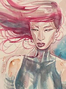 David Mack original art painting Psylocke watercolor art