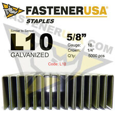 "L Staples L10 Galvanized 18 gauge 1/4"" crown - 5/8"" length (fits Hit/Sen) 5M"