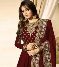 Bollywood Pakistaní Granate Fiesta Salwar Kameez Indio De Traje de Boda Vestido