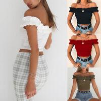 1x Women Sexy Mini Short Shirt Tops Off Shoulder Slim T-shirt Blouse Casual Wear