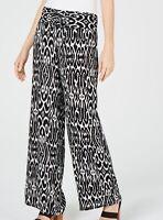 INC Women's Pants Black Size XL Printed Wide-Leg Pull-On Stretch $79 #506