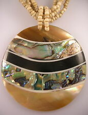 Paua Shell pendant round stripe mustard beige glass multi strand bead necklace