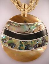 Paua Shell pendant round stripe mustard beige glass multi strand bead necklace