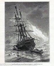 Antique  print : Junon French frigate / gravure frégate 1869 ship