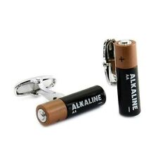 Alkaline Battery Cufflinks Electrical Energy Power + Free Box & Cleaner