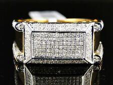 Hombre Acabado de Oro Amarillo XL Original Diamante Talla Redonda