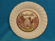 "Vtg 6-1/2"" Souvenir Nashville Music City Mica Chokin Scotty 24K Gold Trim Plate"