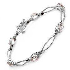 5.40tw Pink Topaz Bracelet Solid White Gold