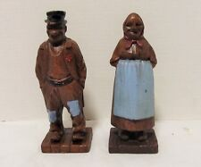 Vintage Syroco Wood Figures Painted Old Man and Woman couple LQQK!