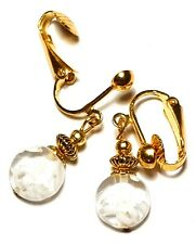 Short Gold White Millefiori Clip On Earrings Glass Bead Drop Dangle