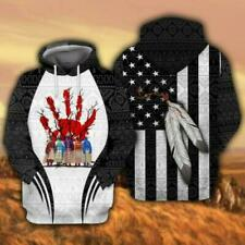 NEW Native Indigenous People US Flag Pattern 3D Hoodie US Size Best Price