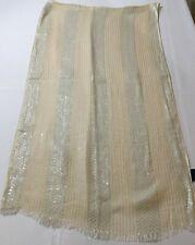 CEJON Chunari Dupatta Scarf Metallic Beige Stripes Fringes Rectangle Rayon