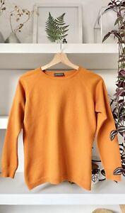 HAWICO Scotland orange wool/silk/cashmere blend jumper! S, Uk8/10 (defect)
