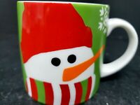 Ceramic Crate & Barrel Snowman with Snowflakes Holiday Green Mug Cup 7 oz