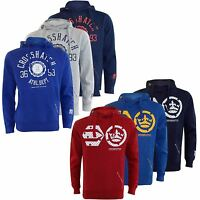 New Crosshatch Mens Pullover Raised Print Hoody Classic Hooded Top Sweat Shirt