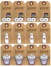 Crois primitive Bonhomme de Neige Cadeau De Noël Étiquettes-finition glacée/Carte Topper