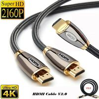 Braided Premium Ultra HD HDMI Cable v2.0 Ethernet HDTV 2160p 4K 3D Lead 1M To 5M