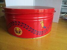 Pennsylvania Dutch VTG TIN ROUND BOX Cookie-GERMAN AMISH-Red Serving Tray Top