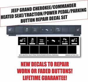 Heated Seat Traction Button Repair Sticker Set Fits Jeep Cherokee Commander
