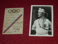 [Coll.J. DOMARD SPORT] OLYMPIC GAMES PARIS 1924  IDENTITY CARD FRANCOIS GANGLOFF