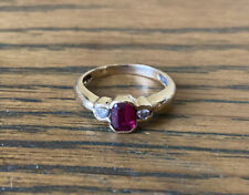 9ct Yellow Gold Ring With Ruby And Natural Diamonds Size M 1/2