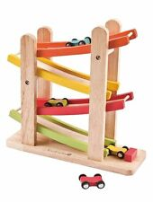 Everearth Junior Ramp Racer Click Clack Car Race Track Wooden Toy