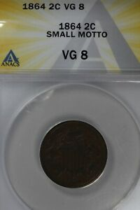 1864 .02  ANACS  VG 8  SMALL MOTTO  Two-cent piece, 2c, Shield Coin, 1800's coin